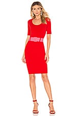 MILLY Belted Fitted Sheath Dress in Red & Guava