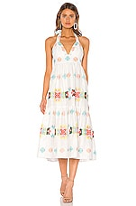 MILLY Embroidered Amelie Midi Dress in Multi
