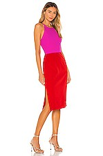 MILLY Cady Layla Combo Dress in Fuchsia & Flame