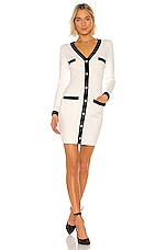 MILLY Fitted Faux Cardi Dress in White & Black