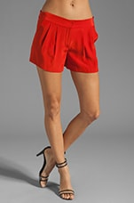 Solid Silk Pleat Front Short in Persimmon