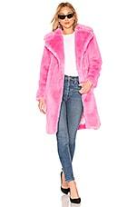 MILLY Riley Long Faux Fur Coat in Bubblegum