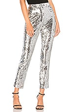 MILLY Sequins High Waist Skinny Pant in Silver