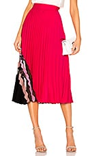 MILLY Pleat Maxi Skirt in Guava Multi