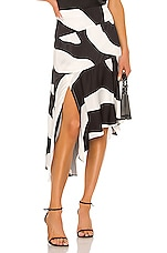 MILLY Zebra Print Viscose Asymmetrical Cascade Skirt in Black Multi