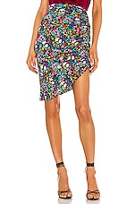 MILLY Dark Floral Ruched Midi Skirt in Multi