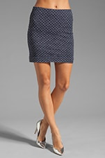 Italian Wavestitch Stella Stretch Mini Skirt in Navy