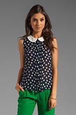 Silk Clover Print Anat Sleeveless Blouse in Navy
