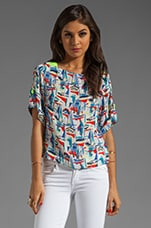 Sailboat Print Gillian Crop Top in Multi