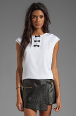 Stretch Silk Crepe Isabel Bow Top in White