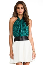 Lichtenstein Dot Bow Halter Top in Teal