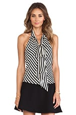 Royal Stripes Bow Halter in Black & White