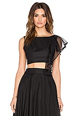 MILLY Cascade Silk Organza Crop Top in Black