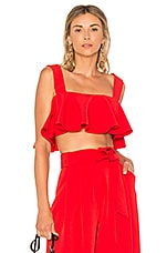 MILLY Ruffle Crop Top in Lipstick