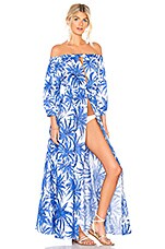 MILLY Palm Trees Dress in Sapphire