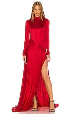 Michael Lo Sordo Empire Jersey Gown in Red