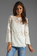 3/4 Sleeve Lace and Cotton Top in White