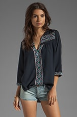 MM Couture by Miss Me 3/4 Sleeve Top With Embroidery in Navy
