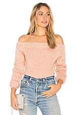 MINKPINK Florentine Off Shoulder Sweater in Mushroom