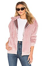 MINKPINK Fluffy Faux Fur Hooded Jacket in Lilac