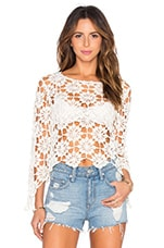 MINKPINK Build Me Up Crochet Top in Off White