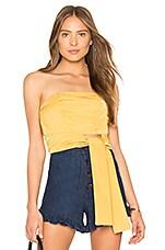MINKPINK Tie Front Strapless Top in Golden Yellow