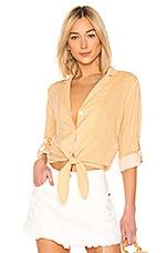 MINKPINK Eliza Stripe Tie Shirt in Mustard Stripe
