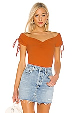 MINKPINK Frida Ruched Top in Rust