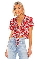 MINKPINK Sahara Breeze Cropped Blouse in Multi Red