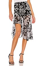 MISA Los Angeles Fiona Ruched Skirt in Grey Floral