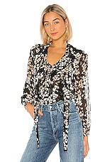MISA Los Angeles Patia Top in Black Ditsy Floral