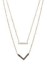 Michael Kors Bar & Arrow Double Chain Pendant Necklace in Rose Gold & Grey