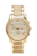 Michael Kors Runway Chronograph Watch in Bone/Gold