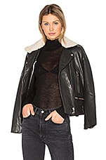Vulcania Faux Sherpa Leather Jacket in Black