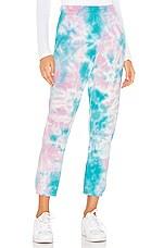 Michael Lauren Nate Crop Sweatpant in Pink & Turquoise Tie Dye