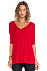 Dylan 3/4 V Neck Draped Tee in Rose Wine