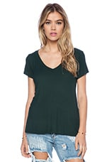 Newman Rib V-Neck Tee in Dark Forest