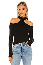 Michael Lauren Trent Open Shoulder Choker Top in Black