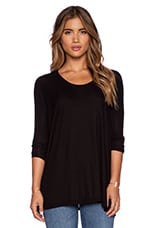 Hunter Ribbed Dolman Top en Noir