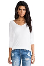 Dylan 3/4 V Neck Draped Tee in White