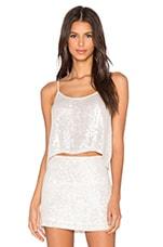 Britney Sequin Crop Top in White