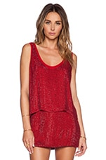 Duma Sequin Sleeveless Top in Red