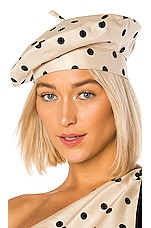 MARIANNA SENCHINA Polka Dot Beret Hat in Nude With Black Polka Dot