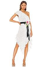 MARIANNA SENCHINA One Shoulder Dress in White With Black Polka Dot