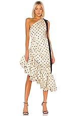MARIANNA SENCHINA Asymmetrical Dress in Nude With Black Polka Dot
