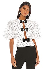 MARIANNA SENCHINA Velvet Blouse in White & Black Polka Dot