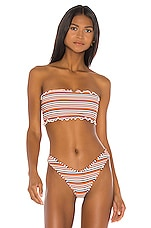 Montce Swim Ruffle Edge Beau Bikini Top in Donna Rib