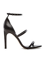 Triple Strap Sandal in Black Lizard