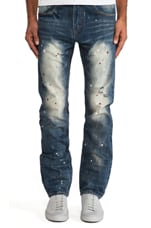 Mostly Heard Rarely Seen Mosaic Splatter Jeans in Med Blue