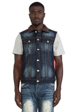 Mostly Heard Rarely Seen Division Denim Vest in Med Blue/Red